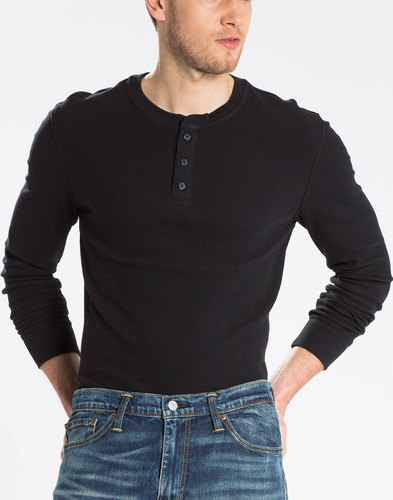levis retro mod ls refined henley neck tee black