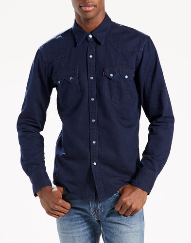 levis retro sawtooth denim western shirt indigo