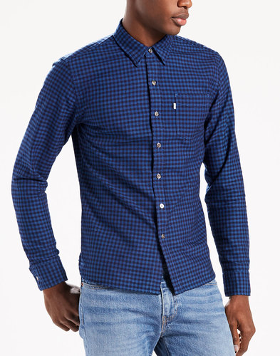 levis retro mod sunset check pocket shirt indigo