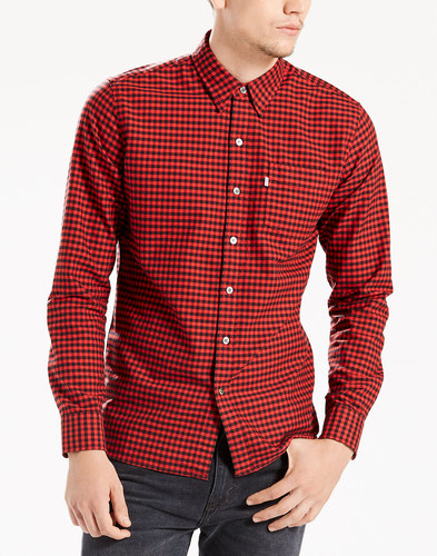 levis mens retro mod sunset check pocket shirt red