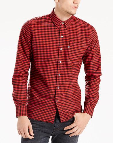 LEVI'S® Retro Mod Sunset 1 Pocket Check Shirt RED