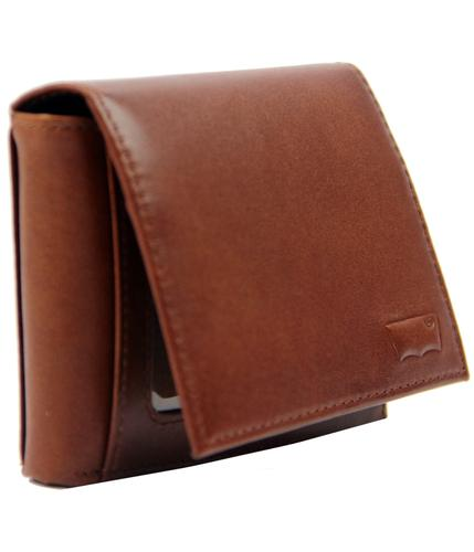 levis retro indie mod trifold leather wallet brown