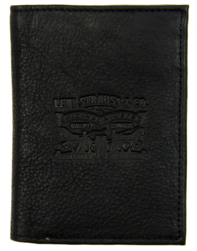 LEVI'S® Retro Trifold Tumbled Leather Wallet BLACK