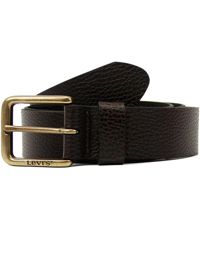 levis retro mod tumbled leather logo belt brown