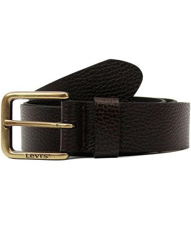 levis retro mod tumbled leather logo belt brown
