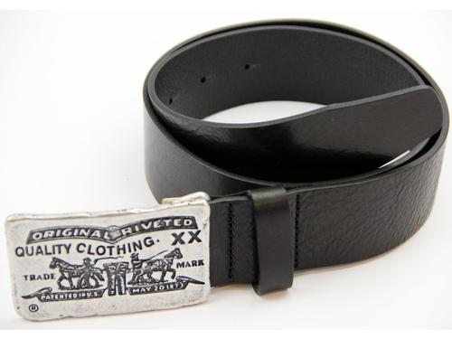 LEVI'S MENS RETRO HORSE FORT LEATHER BELT BLACK