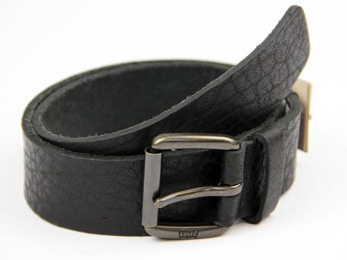 LEVIS MENS RETRO MOD TEXTURED LEATHER BELT BLACK