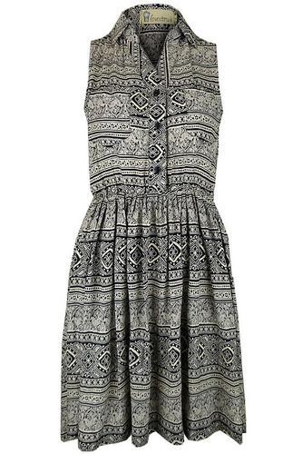 LOVESTRUCK RETRO MOD SHIRT DRESS 60S FOLK PRINT