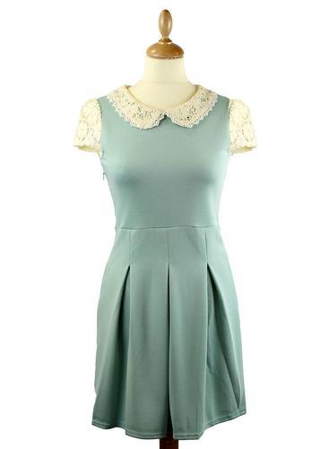 LOVESTRUCK RETRO MOD 60S VINTAGE DRESS MARY SAGE