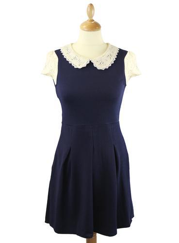 LOVESTRUCK RETRO MOD 60S VINTAGE DRESS MARY NAVY