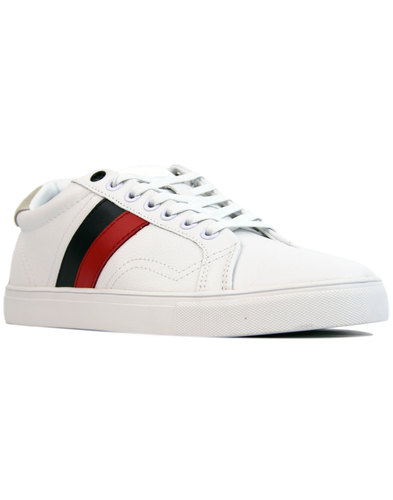 Bough LUKE 1977 Retro Indie Stripe Trainers WHITE