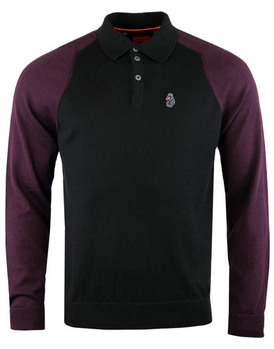 luke 1977 whacker retro mod 2 tone knitted polo