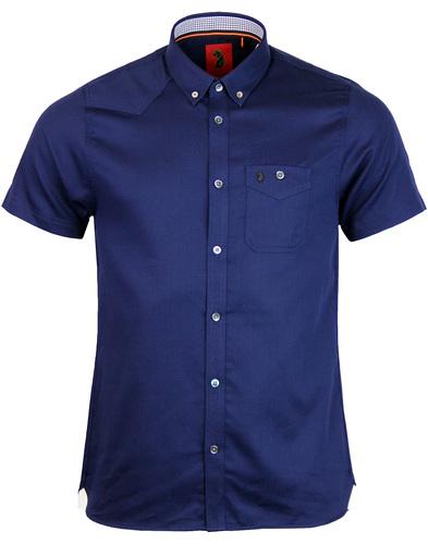 Adam Keyte LUKE 1977 Textured Mod 60s Shirt NAVY