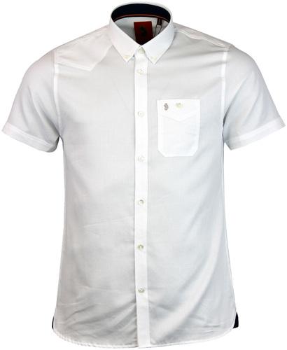 Adam Keyte LUKE 1977 Textured Mod 60s Shirt WHITE