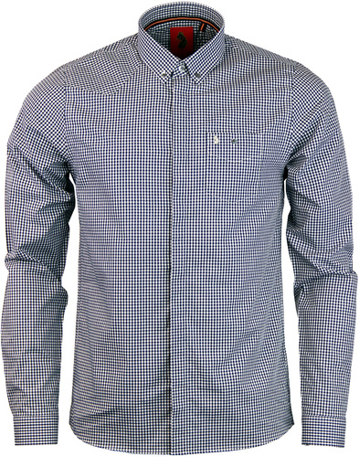 luke 1977 twentyfourseven gingham shirt navy