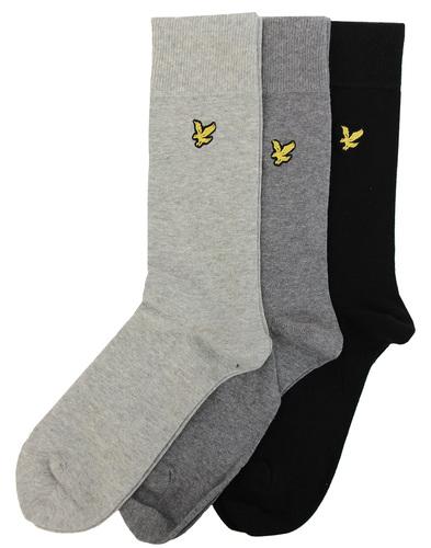 3 Pack LYLE & SCOTT Retro Knitted Socks BLACK/GREY