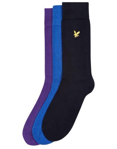 LYLE & SCOTT Retro Mod 3 Pack Socks (Navy/Purple)