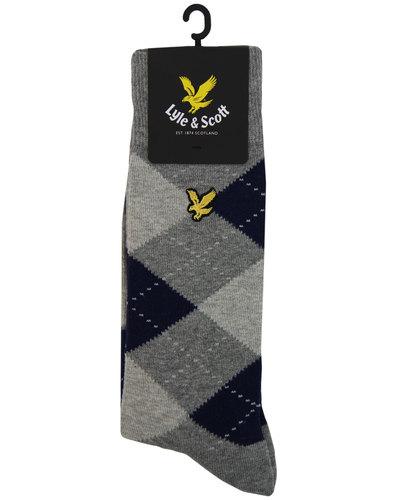 Vintage Argyle LYLE & SCOTT Socks In grey marl