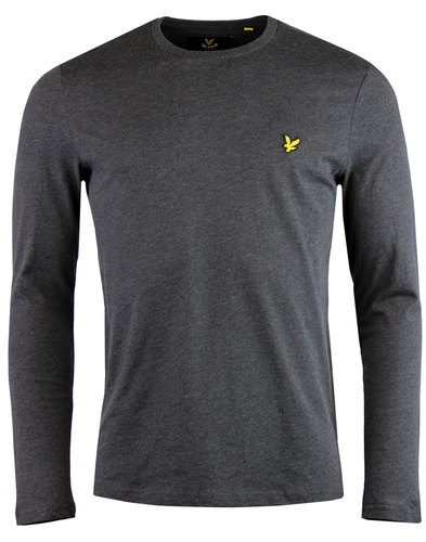 lyle and scott retro long sleeve crew tee charcoal