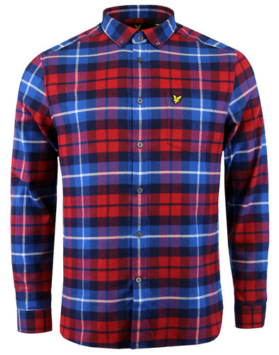 lyle and scott retro 1970s mod flannel check shirt