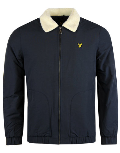 lyle and scott retro mod shearling bomber jacket