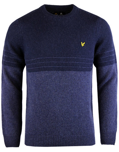 lyle and scott mod stripe stripe wool jumper navy