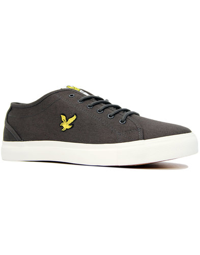 lyle and scott teviot twill retro canvas trainers