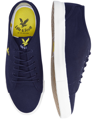 Teviot Twill LYLE & SCOTT 70s Tennis Trainers NAVY