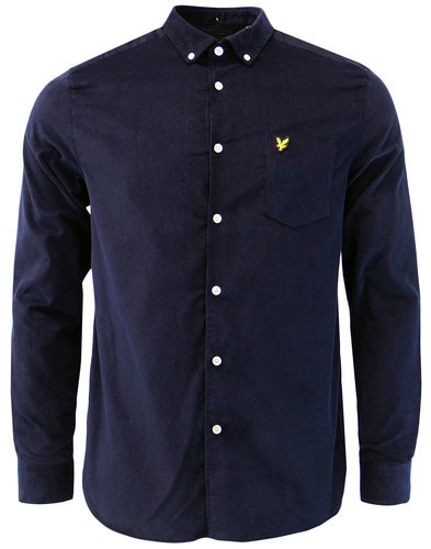LYLE & SCOTT Retro Mod Mini Cord Oxford Shirt NAVY