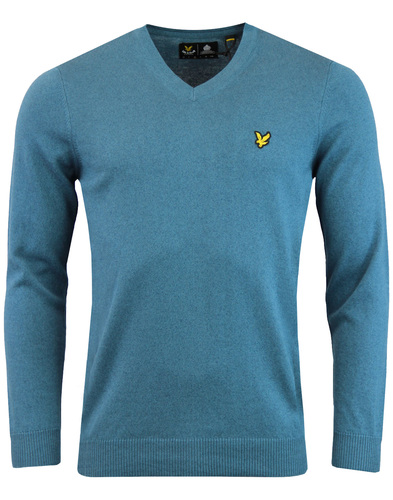 LYLE & SCOTT Mens Cotton Merino V-Neck Jumper TEAL