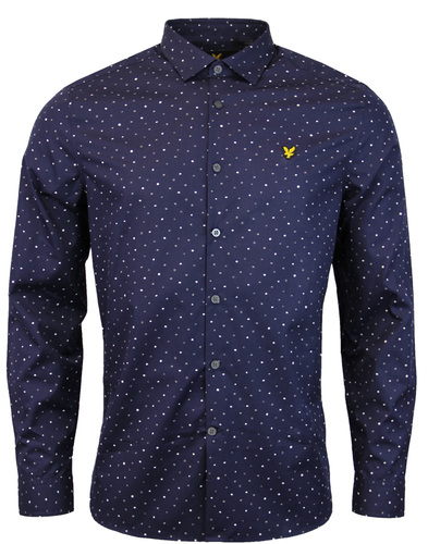 lyle & scott paint dot shirt navy mod