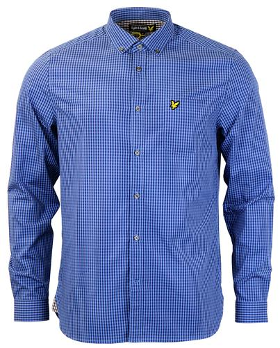 LYLE AND SCOTT RETRO MOD GINGHAM SHIRT BLUE