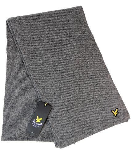 LYLE AND SCOTT RETRO MOD KNITTED SCARF GREY