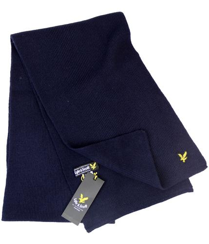 LYLE AND SCOTT RETRO MOD KNITTED SCARF NAVY