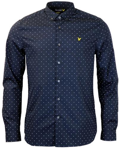 LYLE & SCOTT 60s MOD SQUARE DOT BUTTON DOWN SHIRT