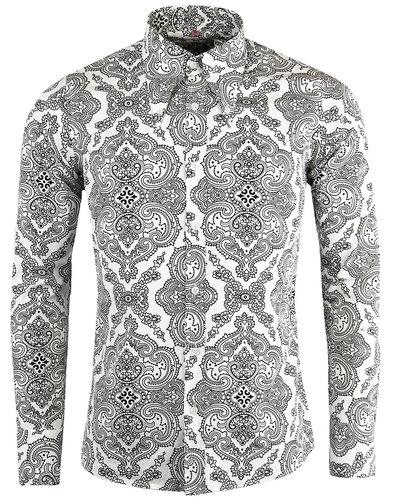 madcap england capo 1960s mod paisley shirt white