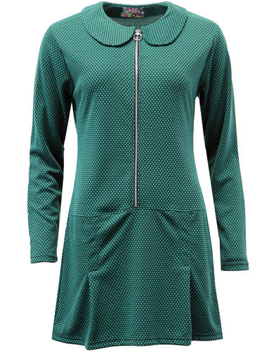 madcap england mayfair mod ring zip dress green