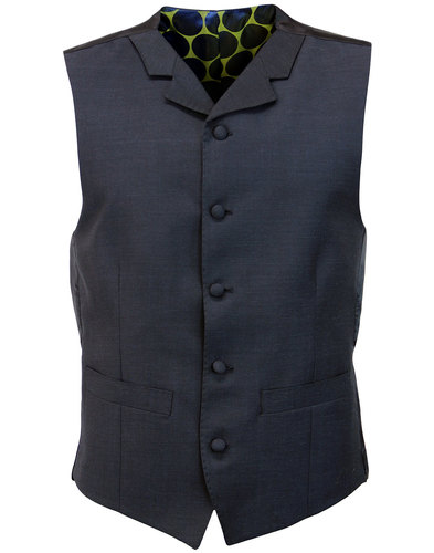 MADCAP ENGLAND 60s Mod Mohair Blend Waistcoat NAVY