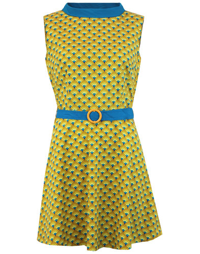 Peacock Minnie MADCAP ENGLAND Op Art Mod Dress