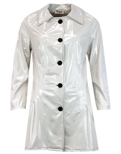 Jackie MADCAP ENGLAND Retro 60s PVC Raincoat WHITE