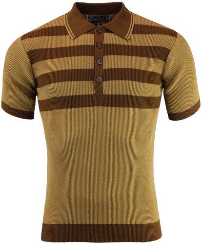 madcap england retro mod ribbed stripe polo camel