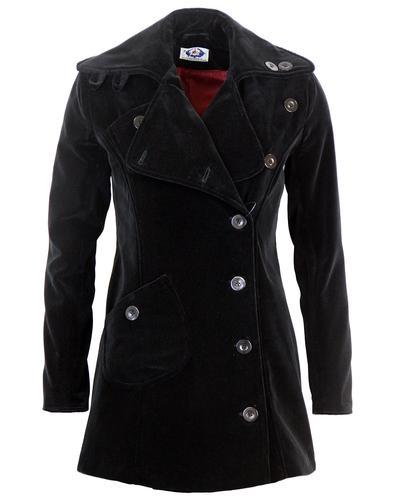 MADCAP ENGLAND WOMENS 60s BLACK VELVET COAT