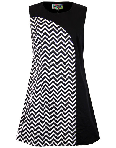 madcap england luna zig zag 1960s mod mini dress