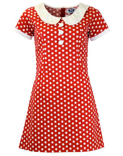MADCAP ENGLAND MOD RETRO 60S POLKADOT DRESS RED