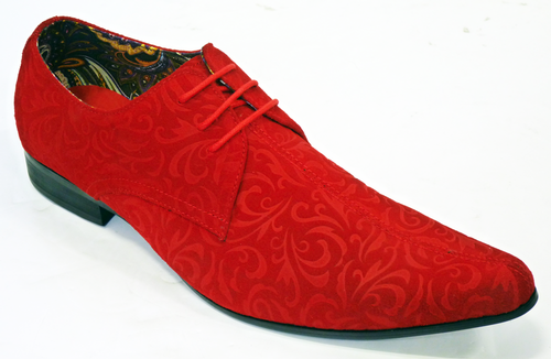 MADCAP JAG PAISLEY SUEDE WINKLEPICKER SHOES RED