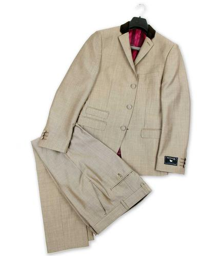 MADCAP ENGLAND MOD SUIT BEATLES RETRO SUIT TAUPE