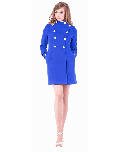 Marmalade Womens Retro 60s Mod Royal Blue Coat