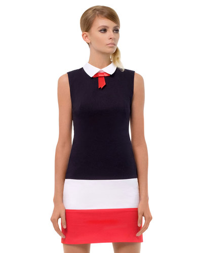Marmalade retro 60s bow collar mod dress navy