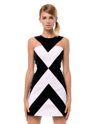 MARMALADE Retro 60s Mod Cut-Out Chevron Mini Dress