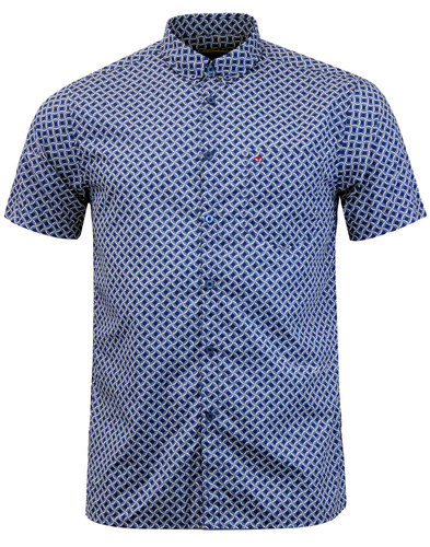 Avery MERC Men's 60s Mod Op Art Circle Shirt NAVY